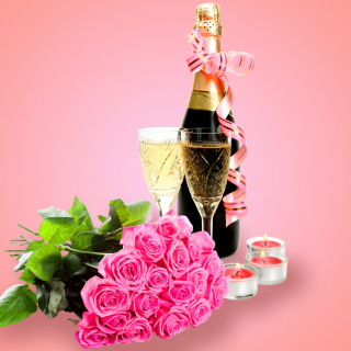 Clipart Roses Bouquet and Champagne - Obrázkek zdarma pro 2048x2048