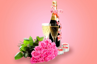 Clipart Roses Bouquet and Champagne - Obrázkek zdarma pro Widescreen Desktop PC 1920x1080 Full HD