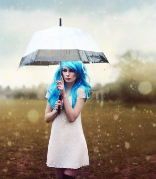 Girl With Blue Hear Under Umbrella - Obrázkek zdarma pro 132x176
