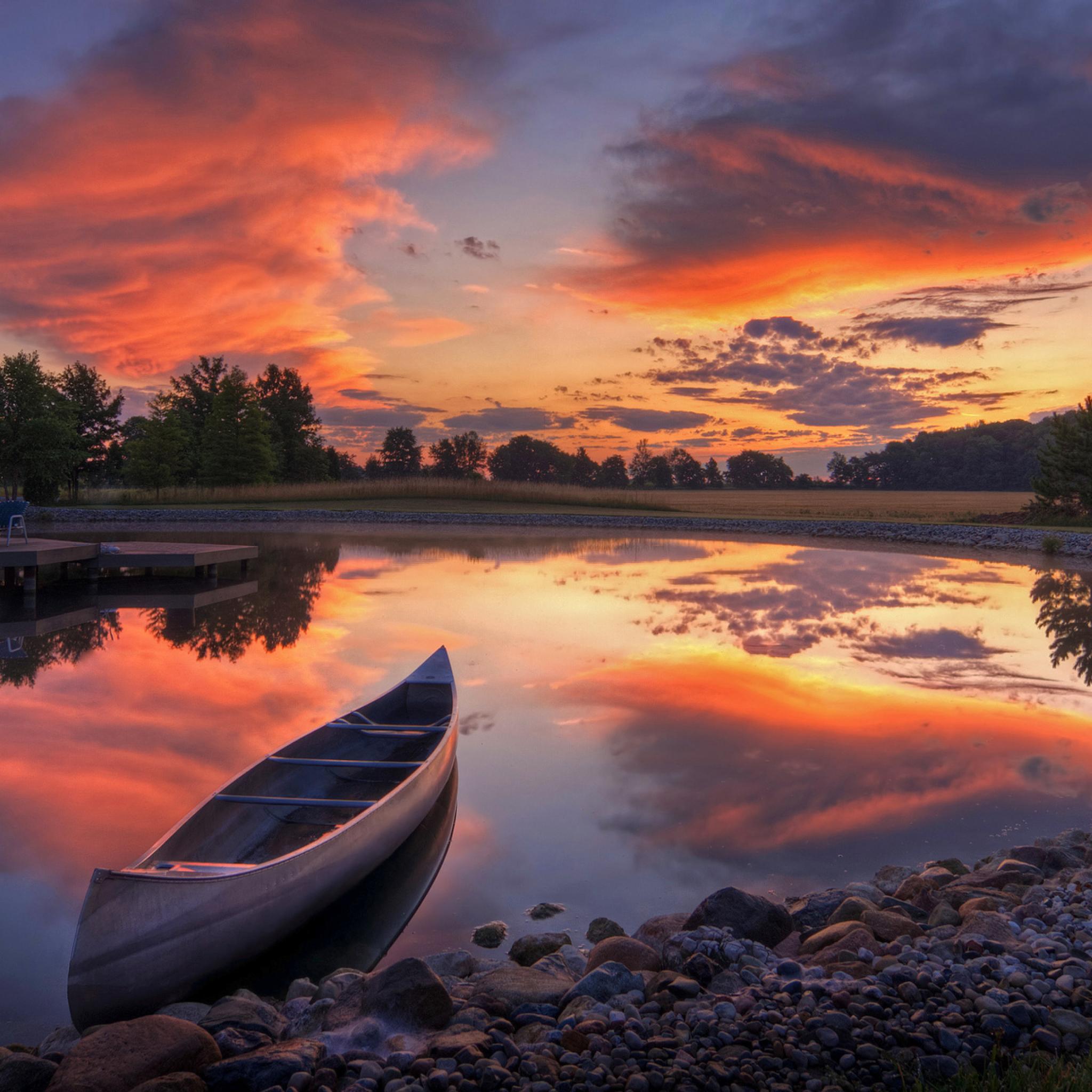 Canoe At Sunset Wallpaper For Ipad Mini 2