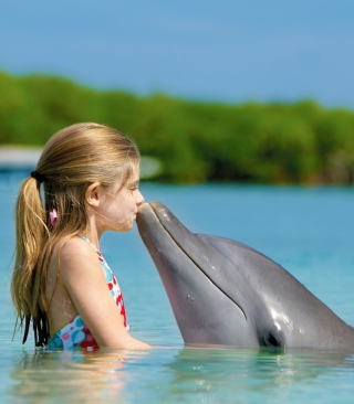 Friendship Between Girl And Dolphin - Obrázkek zdarma pro 240x432