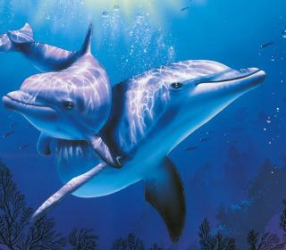 Blue Dolphins - Obrázkek zdarma pro iPad 3