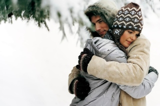 Romantic winter hugs Picture for Android, iPhone and iPad