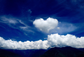 Heart In Blue Sky Background for Android, iPhone and iPad
