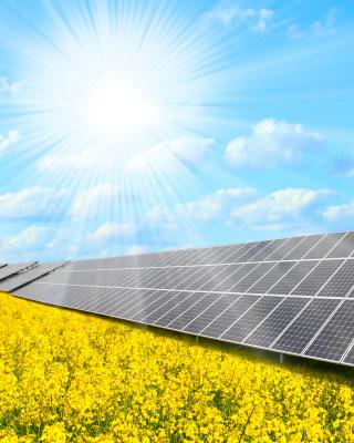 Solar panels on Field - Obrázkek zdarma pro 360x400