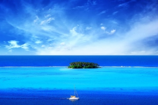 Big Blue Sea Under Big Blue Sky Wallpaper for Android, iPhone and iPad