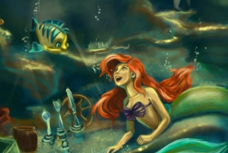 Little Mermaid Painting Wallpaper for Android, iPhone and iPad