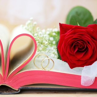 Wedding rings and book - Obrázkek zdarma pro 128x128