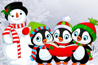 Snowman and Penguin Toys Wallpaper for Android, iPhone and iPad