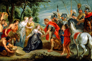 Rubens David Meeting Abigail Painting in Getty Museum - Obrázkek zdarma pro Widescreen Desktop PC 1600x900