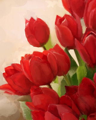 Art Red Tulips Background for Nokia Asha 303