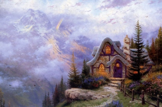 Free Thomas Kinkade, Sweetheart Cottage Picture for Android, iPhone and iPad