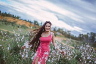 Happy Girl In Field Picture for Android, iPhone and iPad
