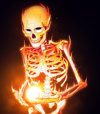 Skeleton On Fire - Obrázkek zdarma pro iPhone 4