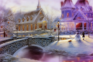 Free Girl And Snowman Picture for Android, iPhone and iPad