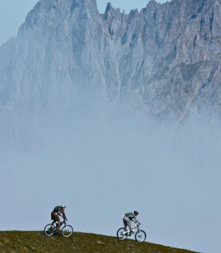 Bicycle Riding In Alps Mountains - Obrázkek zdarma pro 240x320
