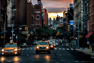 New York City Streets At Sunset Picture for Android, iPhone and iPad