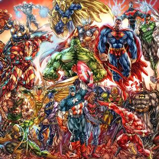 DC Universe and Marvel Comics - Obrázkek zdarma pro 1024x1024