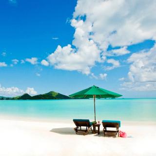 Tropical Paradise White Beach - Obrázkek zdarma pro iPad mini