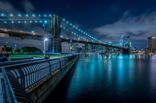 Cable Brooklyn Bridge in New York - Obrázkek zdarma pro 1024x600