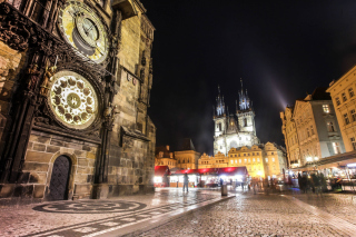 Prague At Night Background for Android, iPhone and iPad