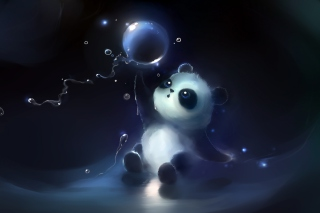 Cute Little Panda With Balloon Background for Android, iPhone and iPad