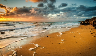 Yellow Blue Colors Of Sea Sunset Background for Android, iPhone and iPad