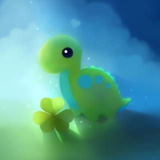 Cute Green Dino - Obrázkek zdarma pro iPad 2