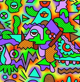 Crazy Neon Heads - Obrázkek zdarma pro 1024x1024