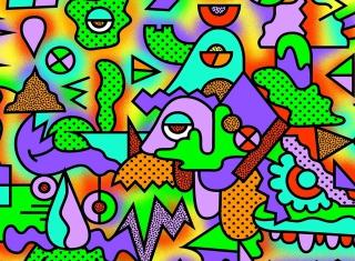 Crazy Neon Heads - Obrázkek zdarma pro Fullscreen Desktop 1400x1050