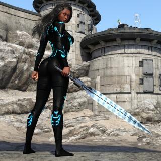 Kendra Warrior with sword - Obrázkek zdarma pro iPad