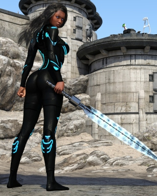 Kendra Warrior with sword - Obrázkek zdarma pro 352x416