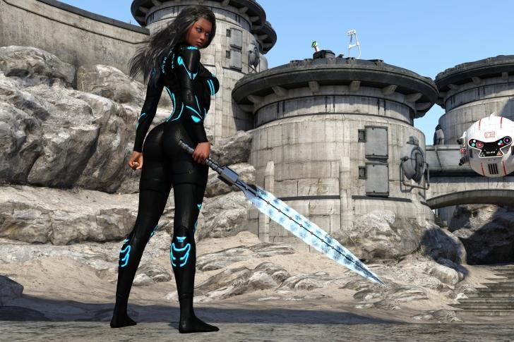 Kendra Warrior with sword wallpaper