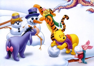 Winnie The Pooh Winter Background for Android, iPhone and iPad