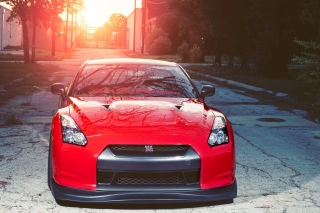 Red Nissan GTR Japanese Sport Car Wallpaper for Nokia Asha 200