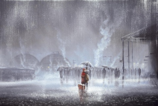 Free Couple Under Umbrella Painting Picture for Android, iPhone and iPad