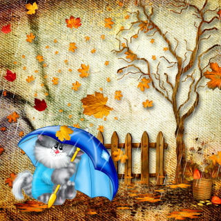 Autumn Cat - Obrázkek zdarma pro iPad 3