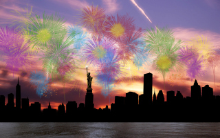 Fireworks Above Statue Of Liberty Wallpaper for Android, iPhone and iPad