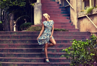 Beautiful Blonde Model Posing At Stairs Wallpaper for Android, iPhone and iPad