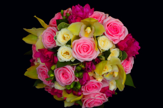 Bouquet of roses and yellow orchid, floristry - Obrázkek zdarma pro Sony Tablet S