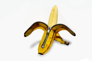 Funny banana as zipper Wallpaper for Android, iPhone and iPad