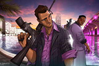 Tommy Vercetti in Grand Theft Auto Vice City - Obrázkek zdarma pro Widescreen Desktop PC 1600x900