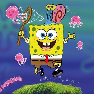 Spongebob And Jellyfish - Obrázkek zdarma pro iPad