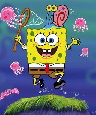 Spongebob And Jellyfish - Obrázkek zdarma pro Nokia Lumia 900