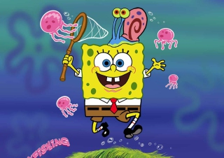 Spongebob And Jellyfish - Obrázkek zdarma pro 1152x864