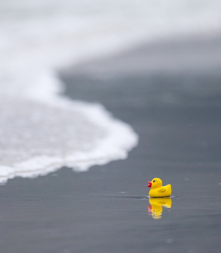 Yellow Rubber Duck At Beach - Obrázkek zdarma pro iPhone 6 Plus