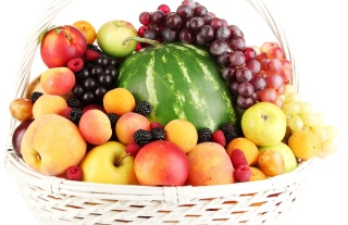 Berries And Fruits In Basket Background for Android, iPhone and iPad