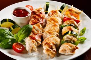 Chicken Skewers as Kebab with Sauce - Obrázkek zdarma pro Widescreen Desktop PC 1600x900
