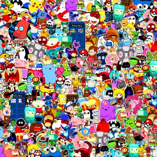 Cartoon Stickers - Obrázkek zdarma pro 208x208