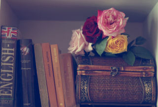 Flowers And Vintage Box Background for Android, iPhone and iPad